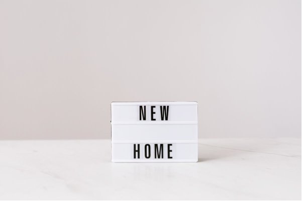 """""""new home"""" sign"""